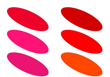 ブルードミナントの「赤」 イエロードミナントの「赤」
